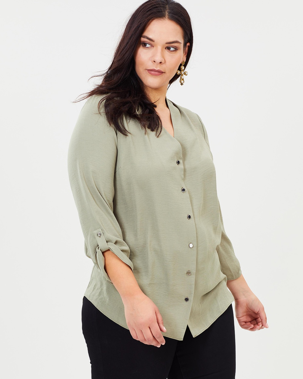 DP Curve Roll Sleeve Shirt Tops Green Roll Sleeve Shirt