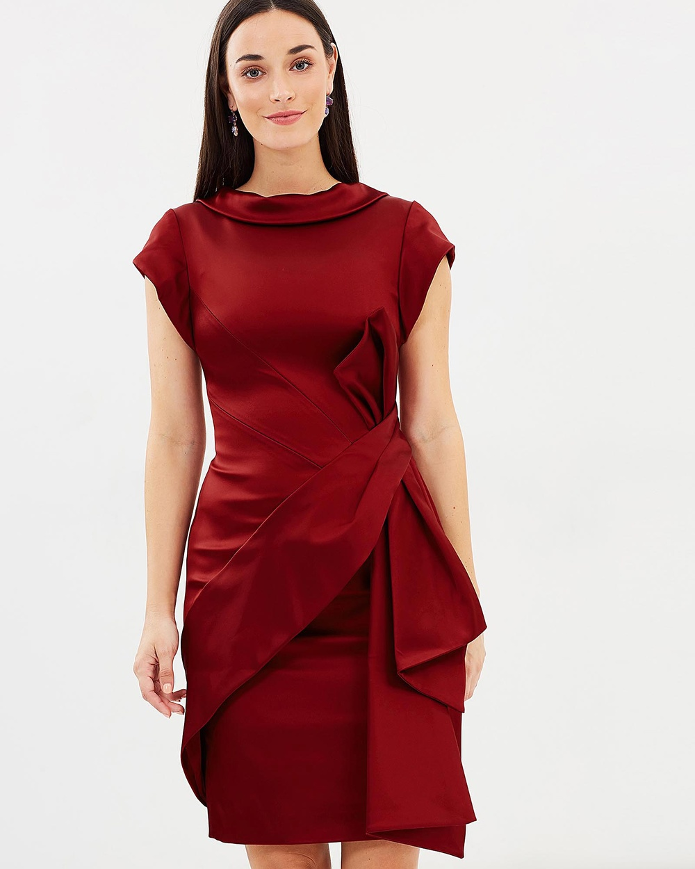 Karen Millen Satin Fold Mini Dress Dresses Dark Red Satin Fold Mini Dress