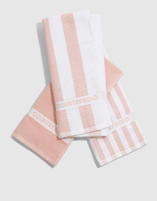 Life Australian Cotton Cr Stripe Tea Towel Pack Of 3