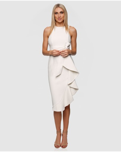 Pizzuto Moonshine Midi Frill Dress White