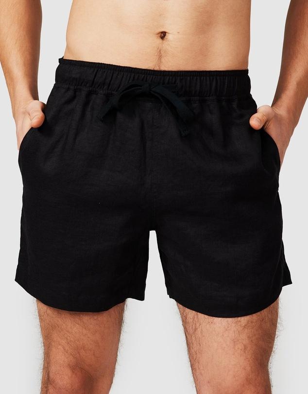 Men Black Linen Shorts