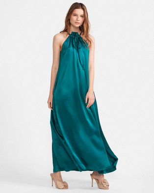 Cynthia Rowley – Charmeuse Tie Neck Halter Maxi Dress