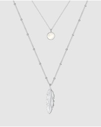 Elli Jewelry - Necklace Ball Chain Feather Moonstone Layer Look 925 Silver