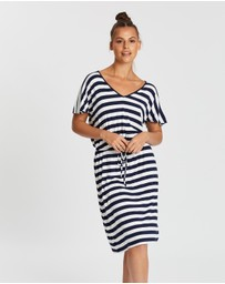 Gap - V-Neck Flutter Sleeve Drawstring Dress