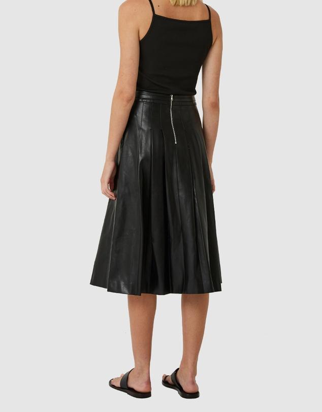 Women Alex Pleated Vegan Leather Midi Skirt