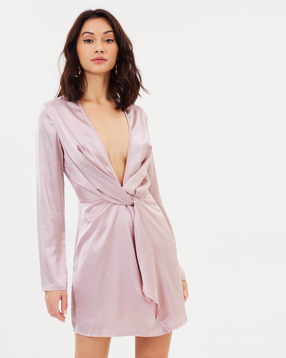 Missguided Twist Long Sleeve Shift Dress Dresses Mauve Twist Long Sleeve Shift Dress