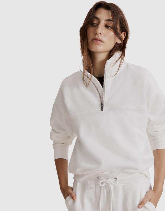 Women Australian Cotton Zip Collar Sweat