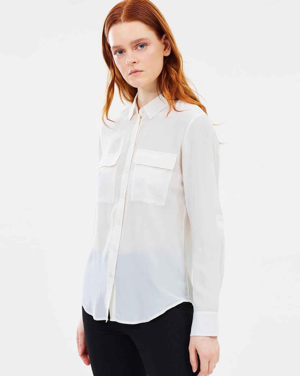 Marcs Sofia Silk Shirt Tops Ivory  Sofia Silk Shirt