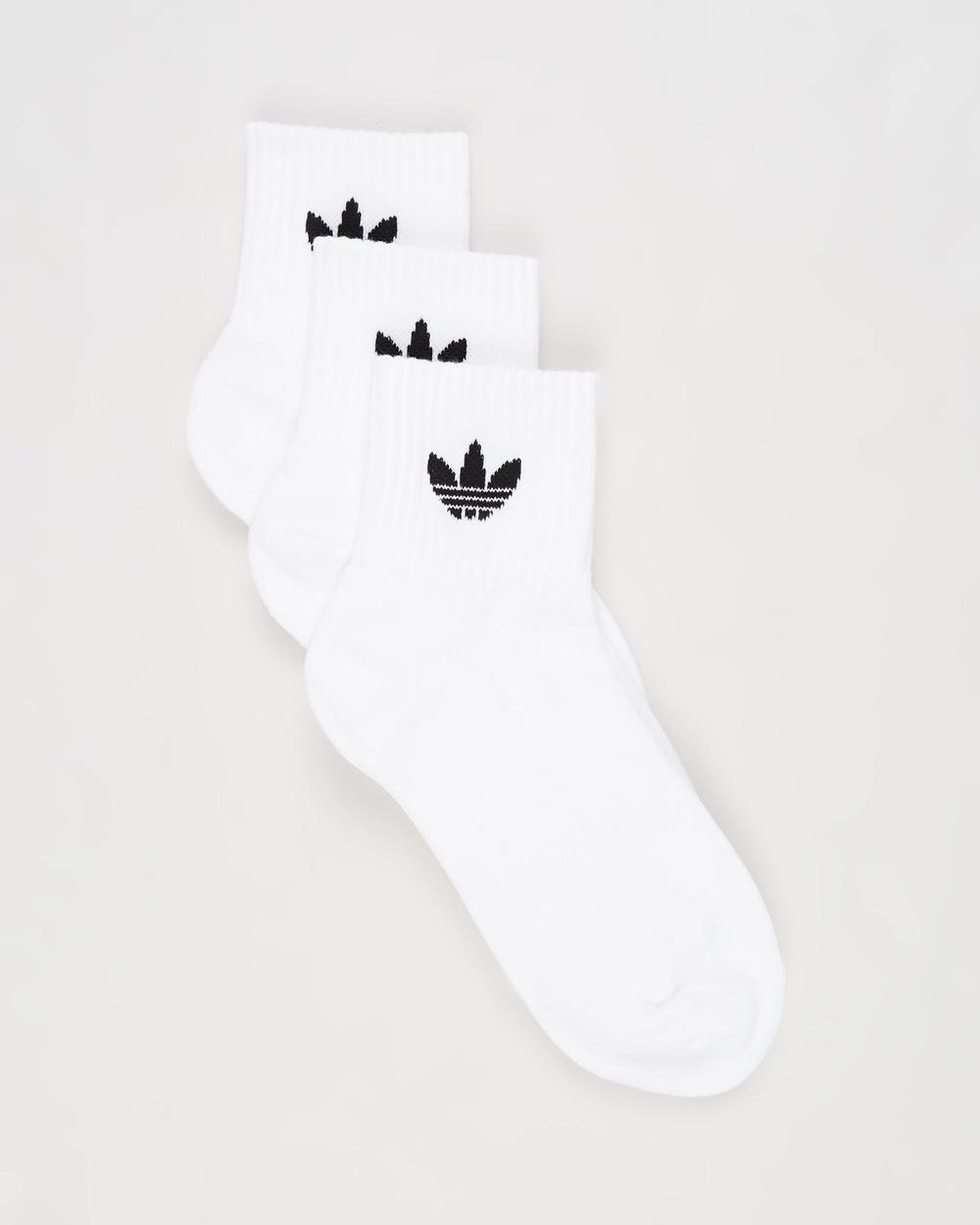 adidas Originals Mid Cut Crew Socks 3 Pack White, White & Black Mid-Cut 3-Pack