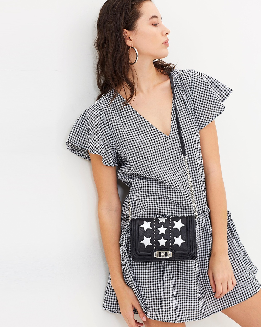 Dazie Alzira Flutter Sleeve Dress Dresses Black Gingham Alzira Flutter Sleeve Dress