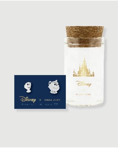 Short Story Disney Earring Belle Mrs Potts And Chip Silver
