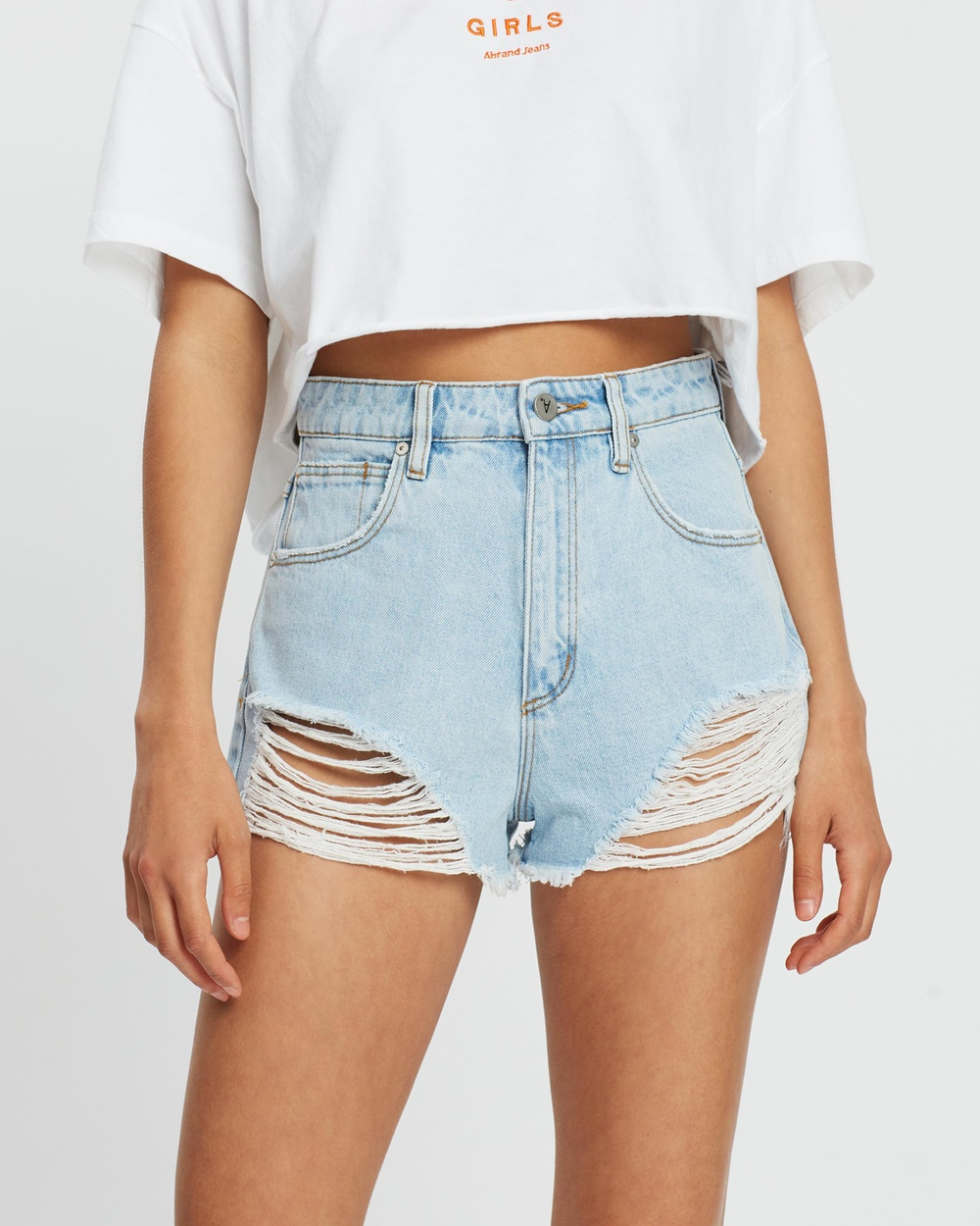Abrand A High Relaxed Shorts Denim Salty Stone