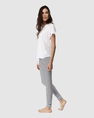 Deshabille Sleepwear  Santa Monica Pants & Tee Set - Sleepwear (Black/White)