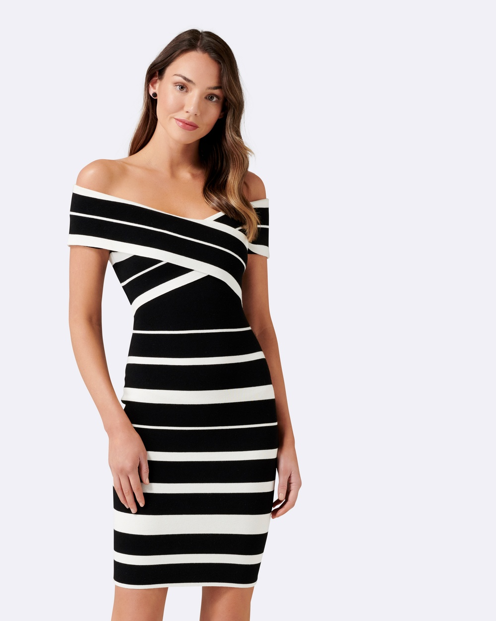 Forever New Kathleen Stripe Bardot Dress Bodycon Dresses Black and Porcelain Kathleen Stripe Bardot Dress