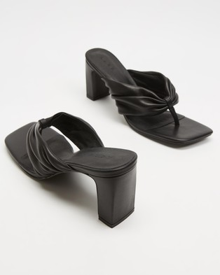 AERE Ruched Leather Thong Heels - Heels (Black Leather)