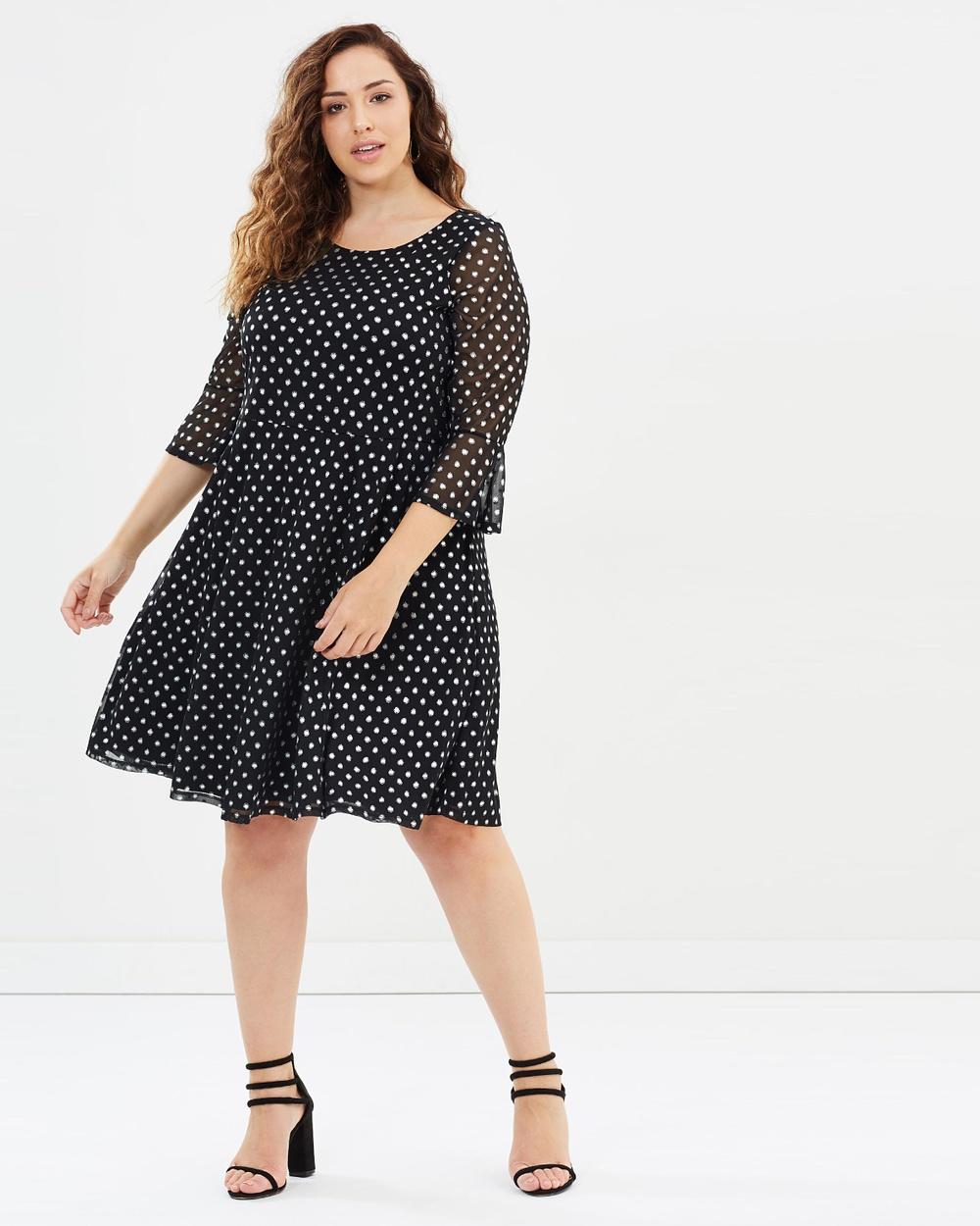 EVANS Spot Mesh Skater Dress Printed Dresses Black Spot Mesh Skater Dress