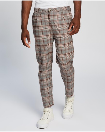 Cotton On Oxford Trousers Grey Prince Check
