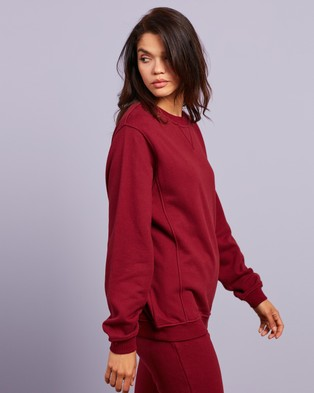 Dazie - Do Good Cotton Sweat Top Sweats (Burgundy)