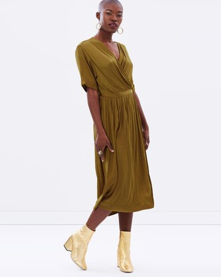 Maison Scotch – Silky Midi Wrap Dress – Dresses (Olive)