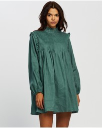 AERE - Pleat Front Linen Smock Dress