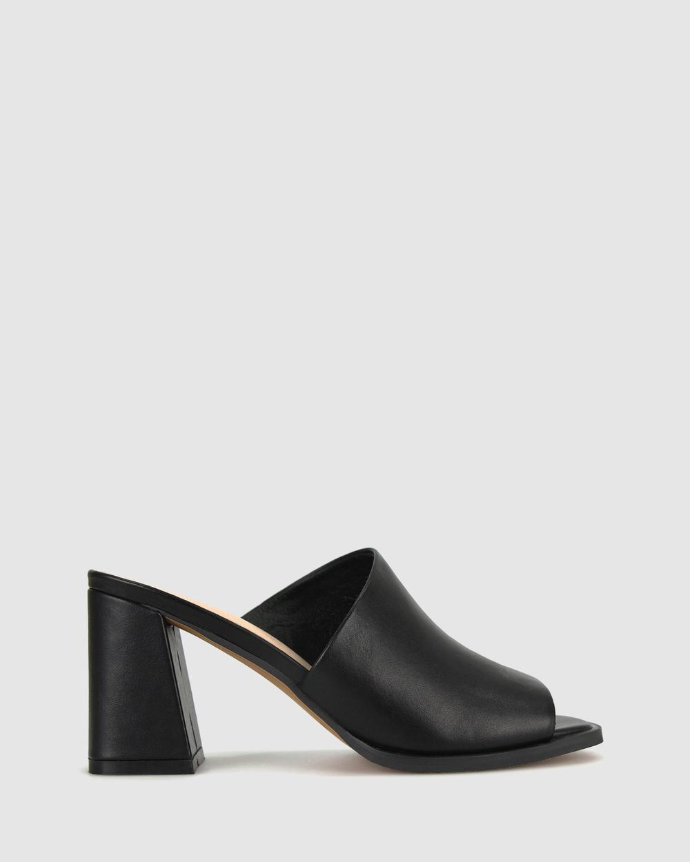 Betts Slick Square Toe Mules Sandals Black
