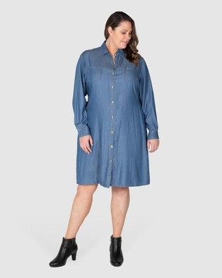 Love Your Wardrobe Olivia Chambray 2 Way Shirt Dress Dresses Indigo 2-Way