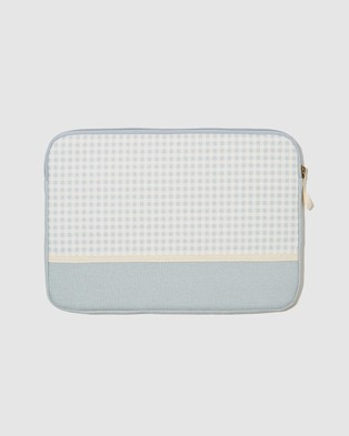 Typo Canvas 13 Inch Laptop Case - Tech Accessories (Gingham Hyacinth & Hyacinth Splice)