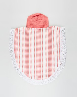 Cotton On Kids Waffle Hooded Towel Towels Coral Crush Stripe