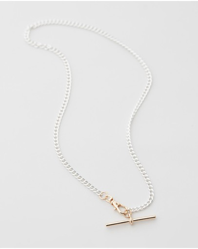 Chained & Able T-bar Mix Necklace Silver