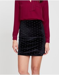 Dorothy Perkins - Velvet Stud Mini Skirt