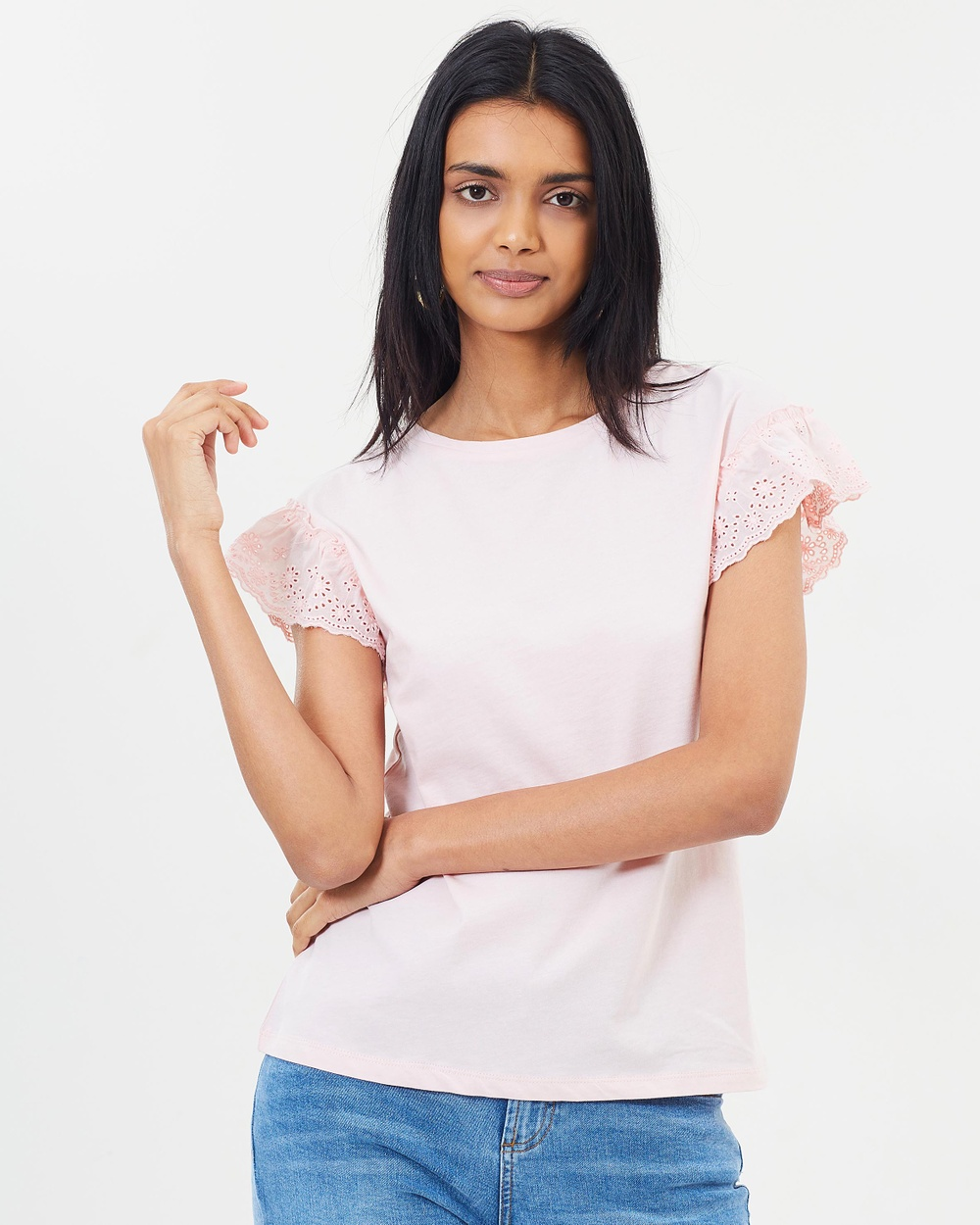 Dorothy Perkins Broderie Frill Sleeve Top Tops Pink Broderie Frill Sleeve Top