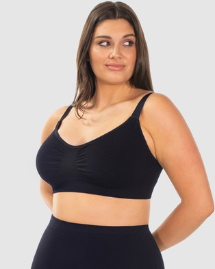 B Free Intimate Apparel Wire free Full Bust Bamboo Bra - Crop Tops (Black)