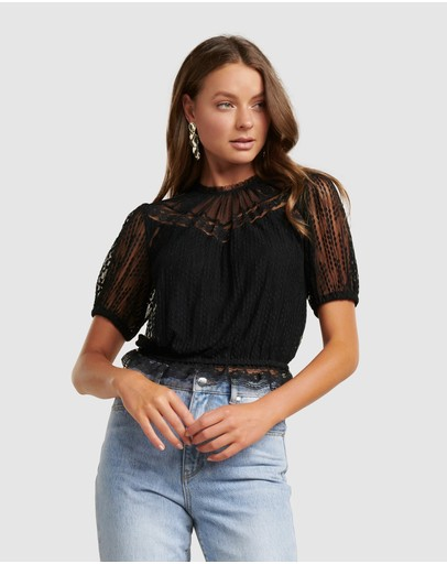 Forever New Cass Lace Yoke Dobby Crop Top Black