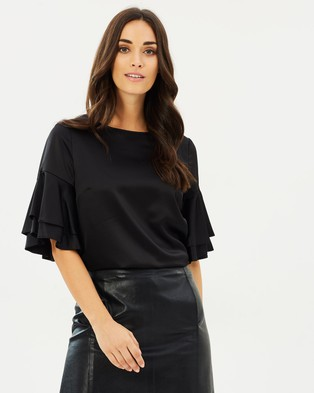 Dorothy Perkins – Double Ruffle Swing Top Black
