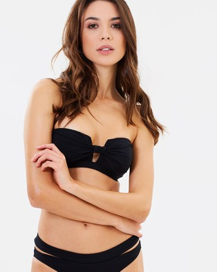 JETS – Gathered Plunge Bandeau Top Black