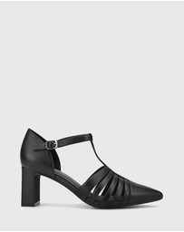 Wittner - Dontae Leather Block Heel T-Bar Pumps