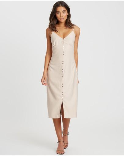 Calli Roux Button Up Dress Beige