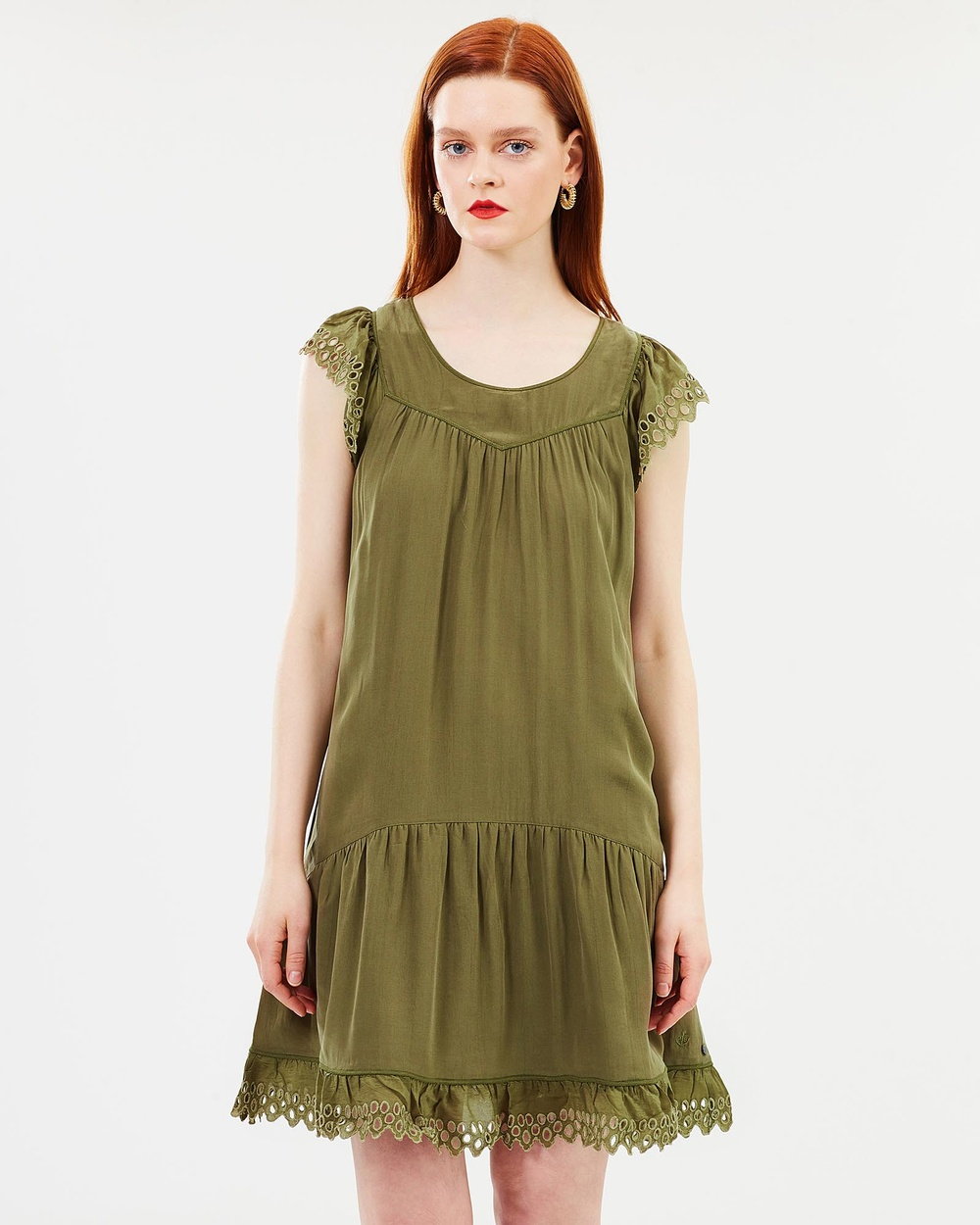 Maison Scotch Draped Broderie Dress Dresses Military Green Draped Broderie Dress