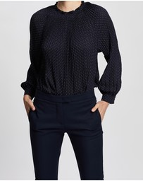 David Lawrence - Pleated Spot Blouse