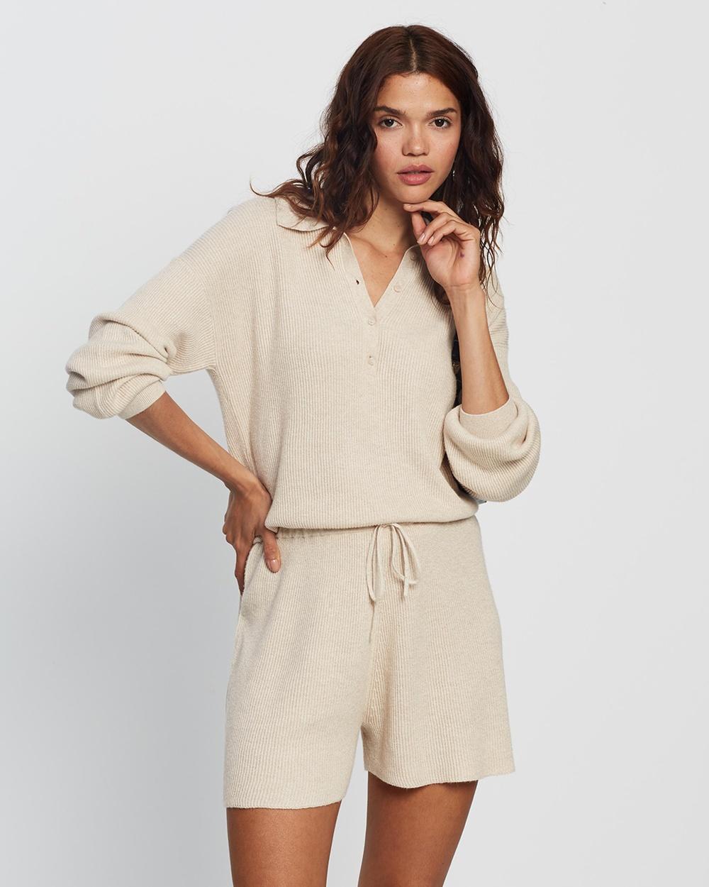 AERE Organic Cotton & Cashmere Knit Playsuit Jumpsuits Playsuits Chantilly Lace