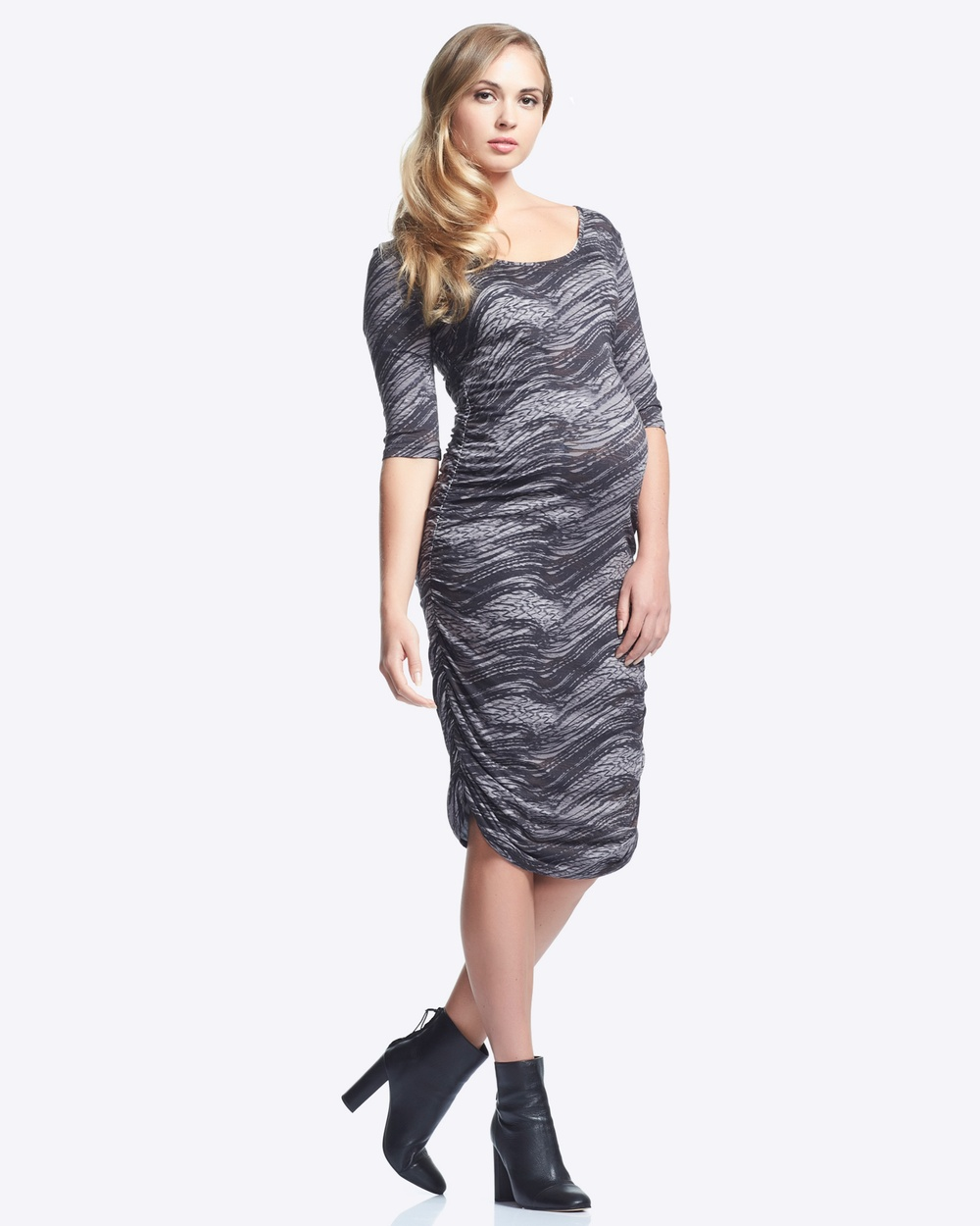 Soon Maternity Celina 3 4 Sleeve Print Maternity Dress Printed Dresses Grey Celina 3-4 Sleeve Print Maternity Dress