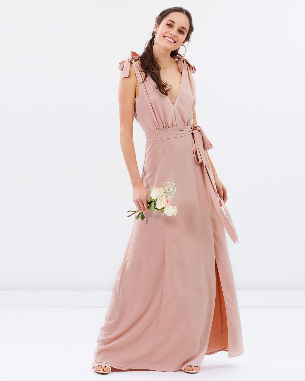 Atmos & Here ICONIC EXCLUSIVE Amelie V Neck Maxi Dress Bridesmaid Dresses Nude Pink ICONIC EXCLUSIVE Amelie V-Neck Maxi Dress