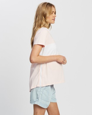Angel Maternity Short Sleeve Colour Block Tee - T-Shirts & Singlets (White and Pink)