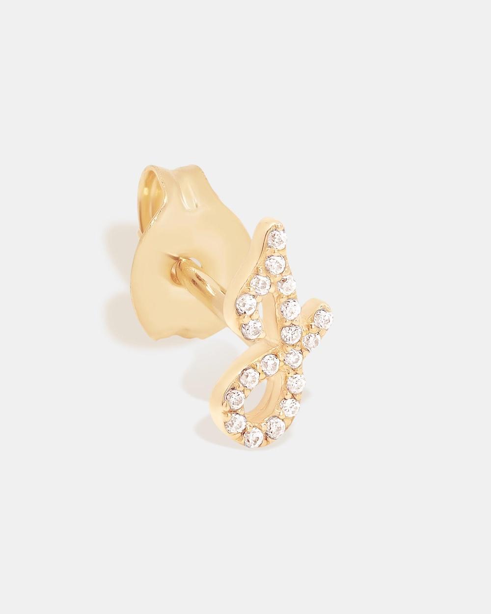 By Charlotte 14K Gold Diamond Love Letter J Single Earring Jewellery Gold J