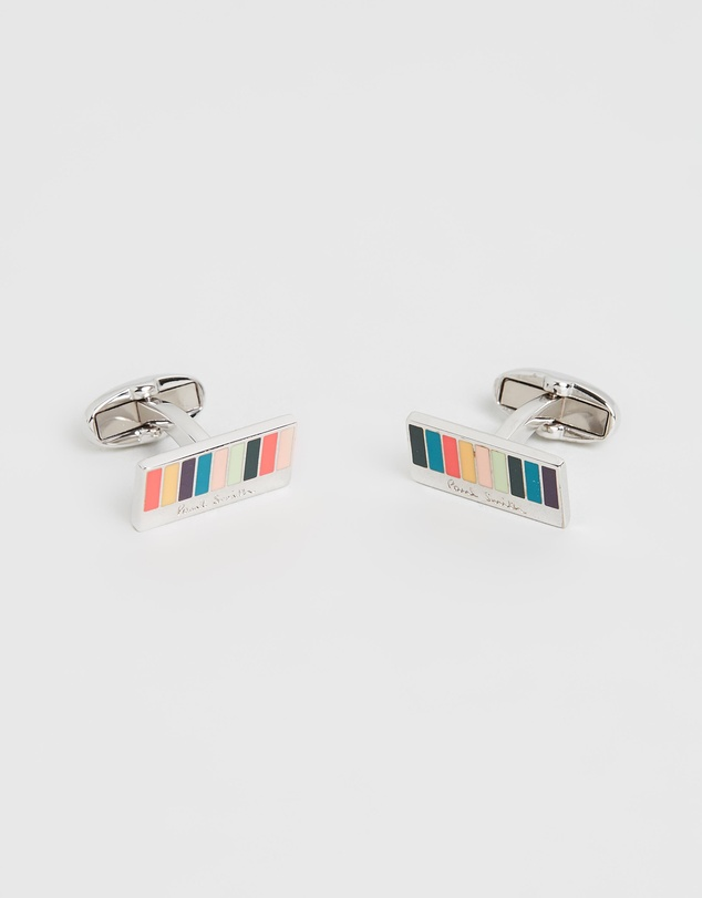 Paul Smith - Striped Rectangular Logo Cufflinks