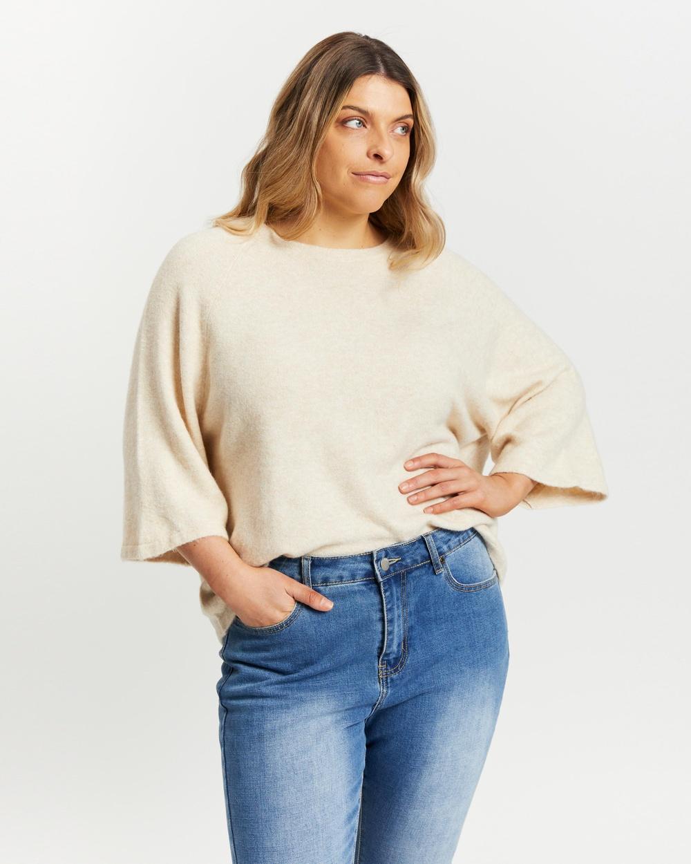 Atmos&Here Curvy Gabriela Knitted Top T-Shirts & Singlets Oatmeal Australia