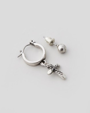 Icon Brand Cross Drop Hoop Earring with Stud - Jewellery (Silver)