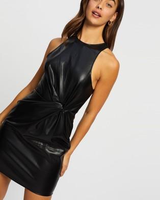Missguided PU Twist Front Sleeveless Mini Dress - Dresses (Black)
