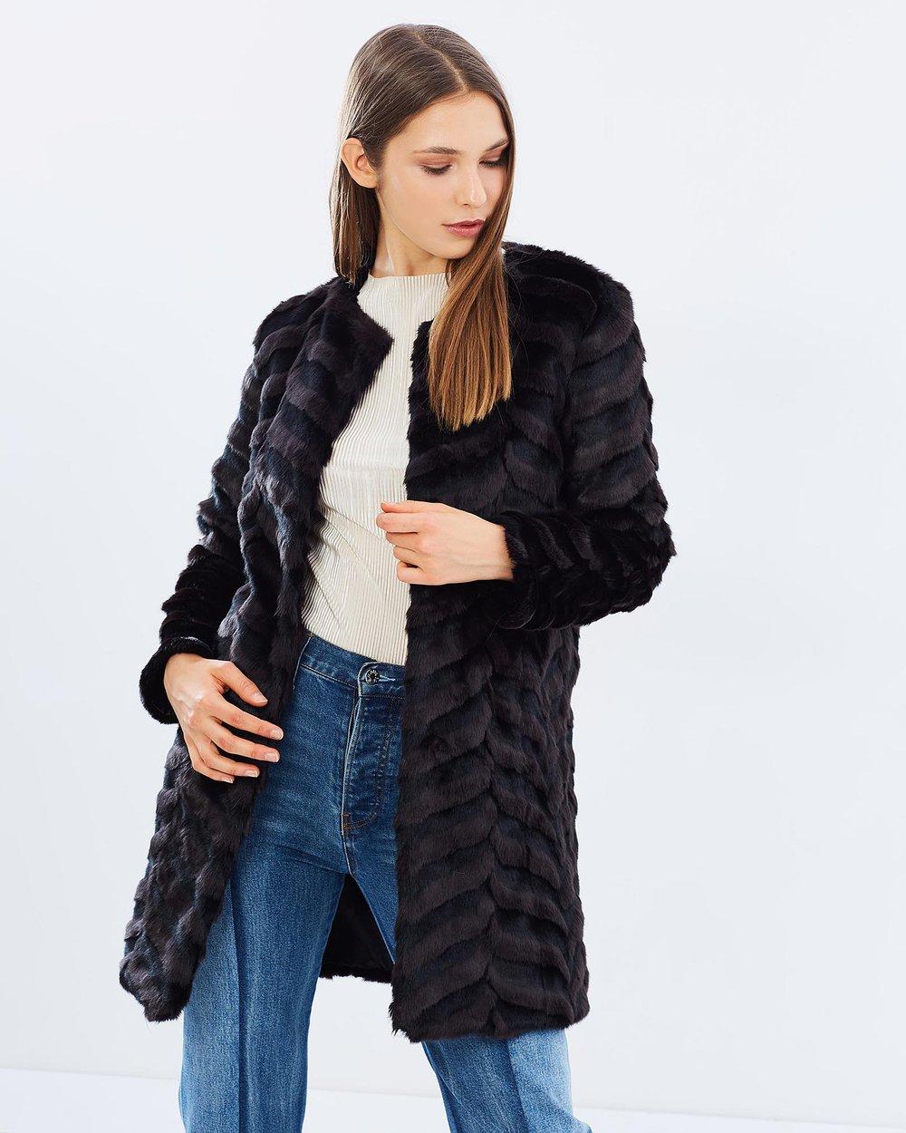 99c9e8629d Akira Long Sleeve Faux Fur Waist Tie Long Line Denim Jacket In Blue ...
