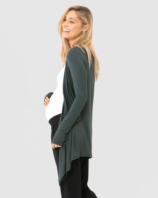 Bamboo Body Bamboo Waterfall Cardigan - Jumpers & Cardigans (Forest)